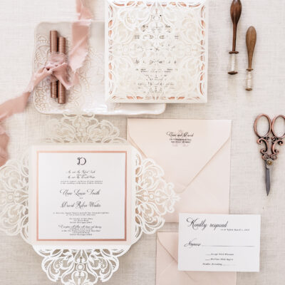 elegant wedding invitations, laser cut wedding invitations, elegant fairytale wedding invite with vintage lace blush elegant