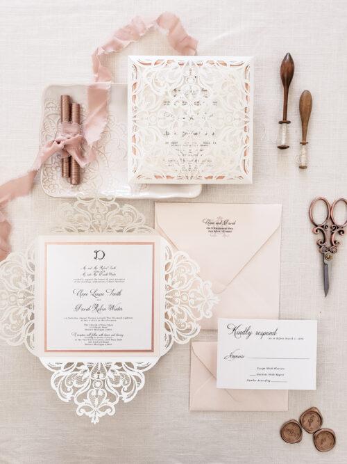 elegant wedding invitations, laser cut wedding invitations, elegant fairytale wedding invite with vintage lace blush elegant