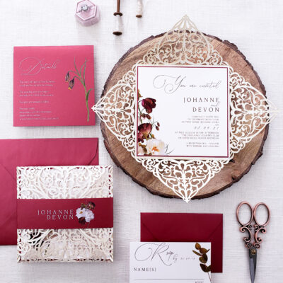 burgundy and ivory laser cut wedding invitations, floral wedding invitation with realistic flowers, invitations for wedding