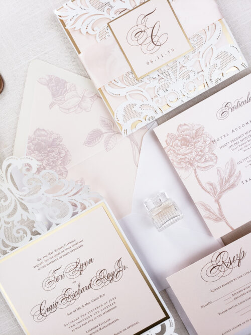 gold laser cut wedding invitations