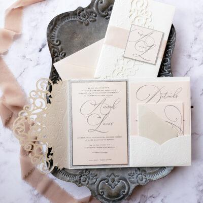 elegant laser cut pocket folder wedding invitations, elegant wedding invites blush and ivory, laser cut wedding invitation sample