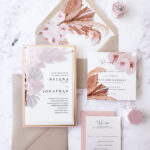 vellum tropical wedding invitation