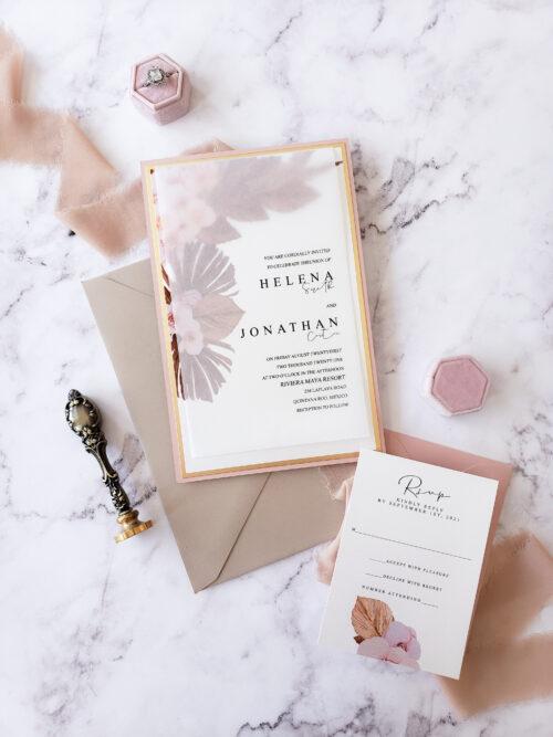 vellum tropical wedding invitation
