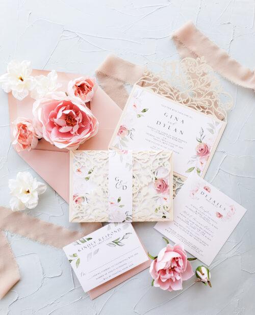 spring wedding invites, laser cut wedding invitation gate in ivory and blush, romantic wedding invitation card suite sample