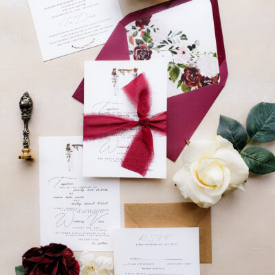 burgundy rustic wedding invitation