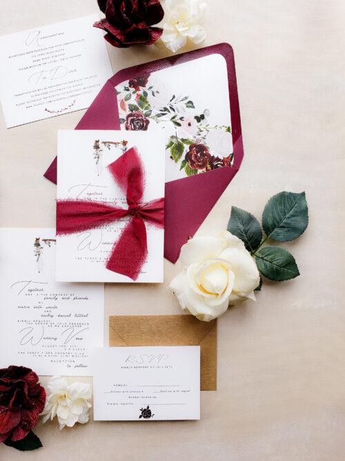 rustic burgundy wedding invitation