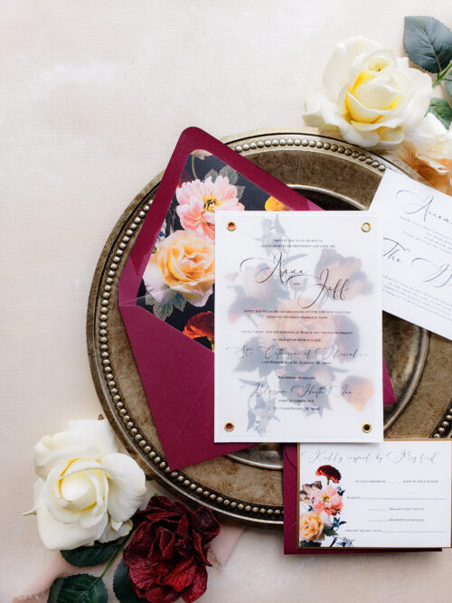 realistic floral wedding invitation