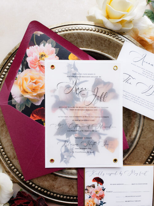 vellum overlay wedding invitation