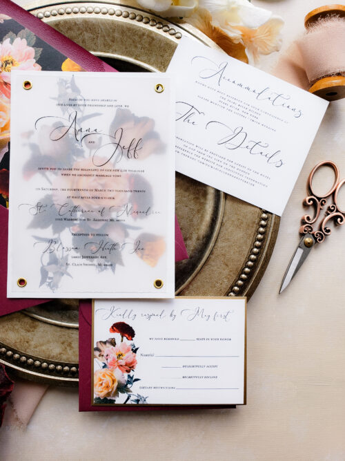 luxury moody wedding invitation