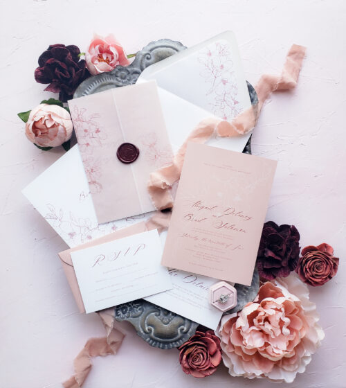 vellum organic wedding invitations