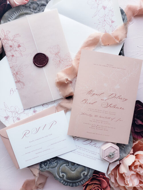 vellum blush wedding invitations