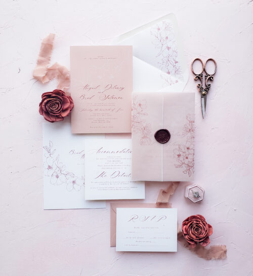vellum wrap wedding invitations