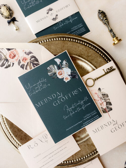 tropical green invitation suite