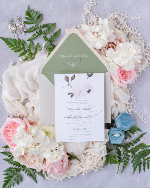 greenery wedding card