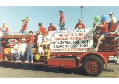 Antique firetruck political parade