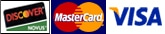 Graphic showing Discover, MasterCard, Visa, and American Express logos