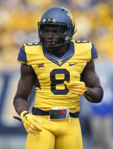 Oct 4, 2014; Morgantown, WV, USA; West Virginia Mountaineers safety Karl Joseph (8) on the field against the Kansas Jayhawks during the first quarter at Milan Puskar Stadium. West Virginia won 33-14. Mandatory Credit: Charles LeClaire-USA TODAY Sports