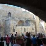 Exiting Via Dolorosa and entering the Church courtyard.