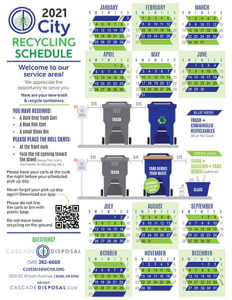 Cascade Disposal City calendar 2021