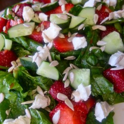 Summer Salad: Spinach, Strawberries, and Sunflower Seeds