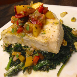 Southwestern Swordfish with Peach Salsa and Spicy Kale and Corn Sauté