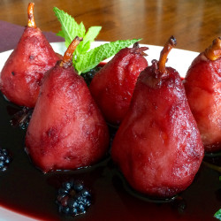 Healthy Holidays: Wine Poached Pears and Blackberries (Recipe)