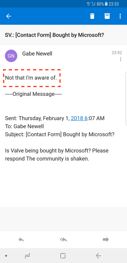 An email reply from Gabe Newell on Microsoft Valve deal