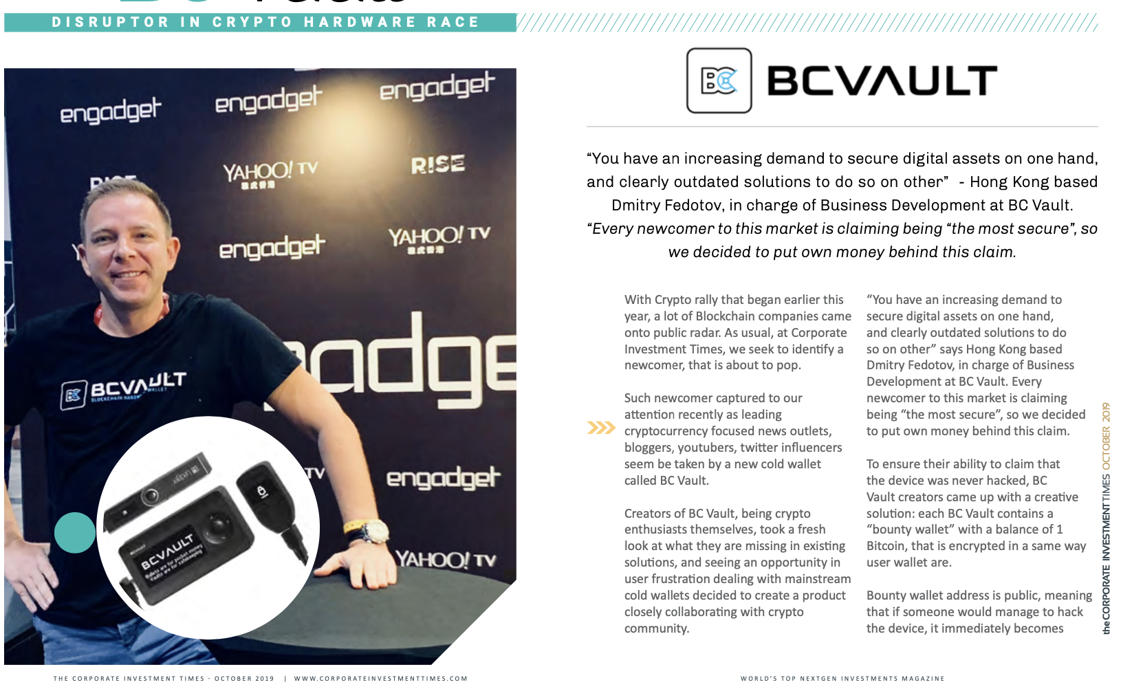 BC Vault and Dmitry Fedotov in Corporate Investment Times