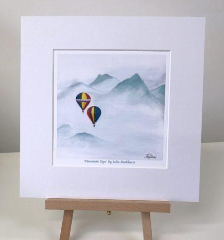Mountain Tops hot air balloon print art gift Pankhurst Gallery