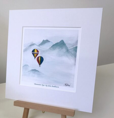Mountain Tops hot air balloon print art gift Pankhurst Gallery