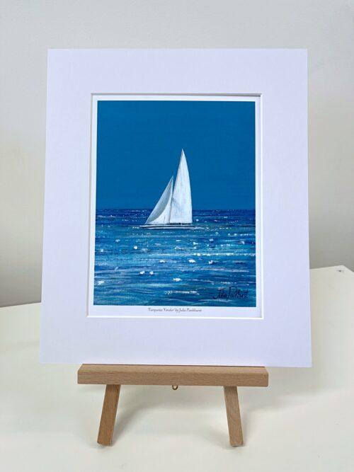 Turquoise Yonder White Yacht Boat Sailing Seascape Art Print Gift Pankhurst Gallery