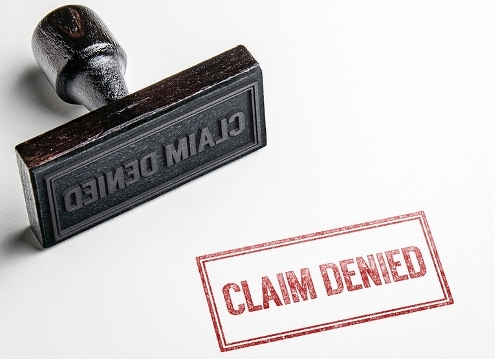 Claim denied rubber stamp.