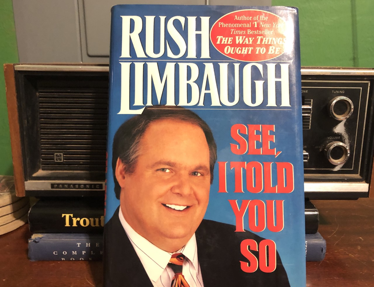 Limbaugh Book Cover in front of radio