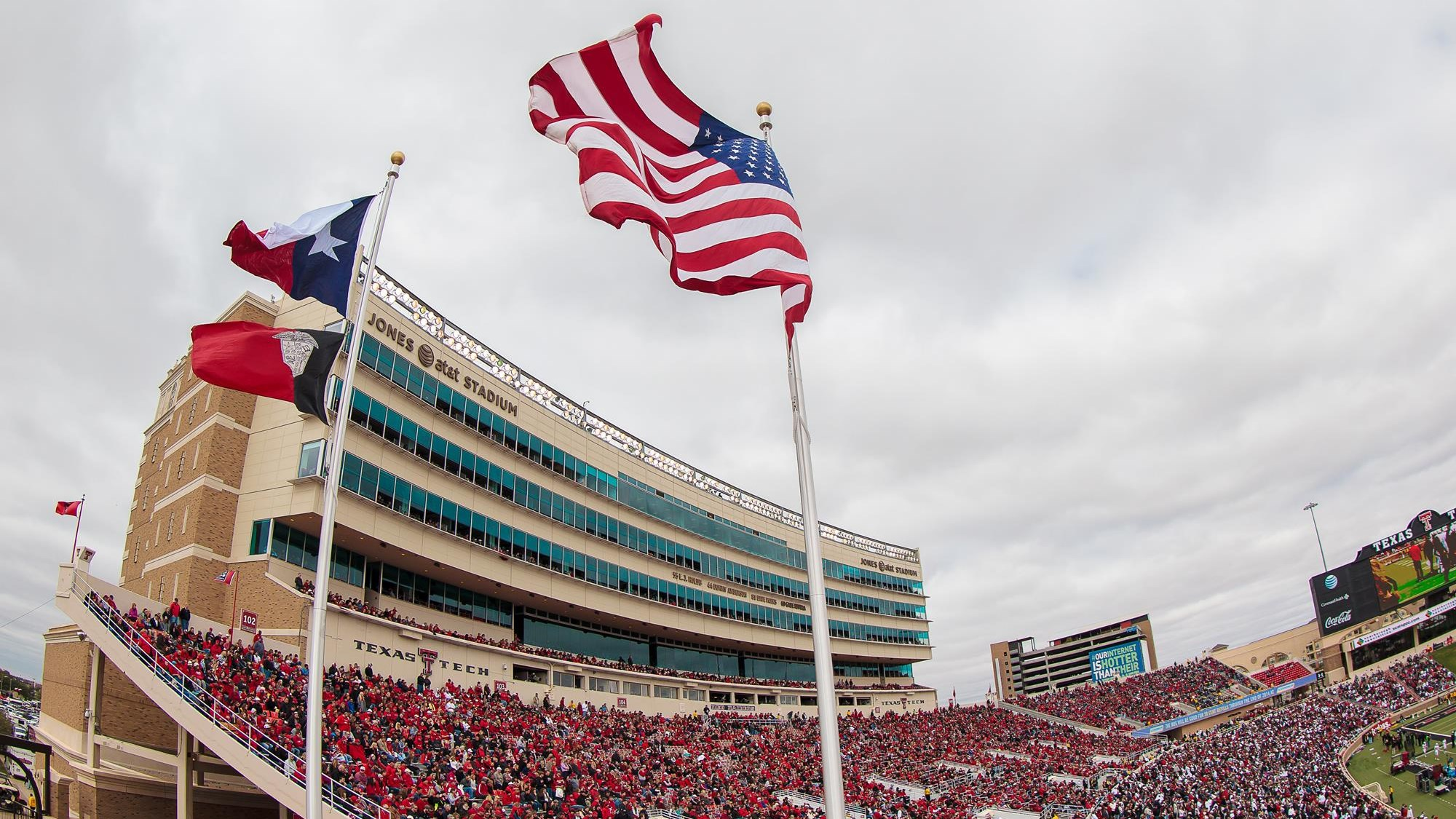 Jones Stadium American flags