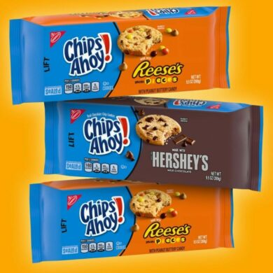 Chips Ahoy made with Reese's Mini Pieces and Hershey's!