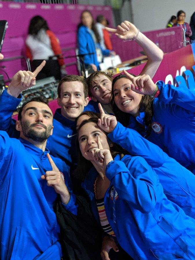 Team USA celebrate their 2019 Pan American Games Squash Triumphs
