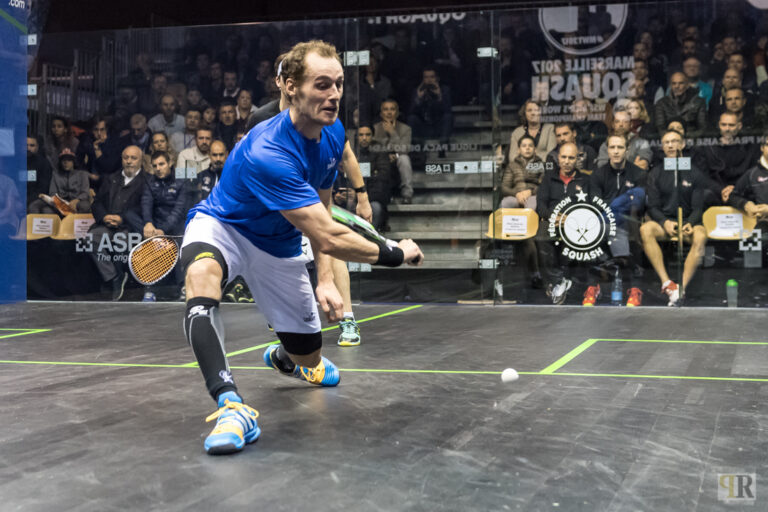 Gregory Gaultier of France in action during the 2017 WSF Men's World Team Squash Championship