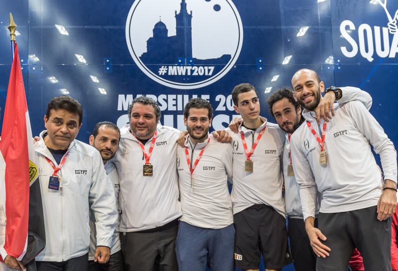 The Egypt team that won the 2017 WSF Men's World Team Squash Championship