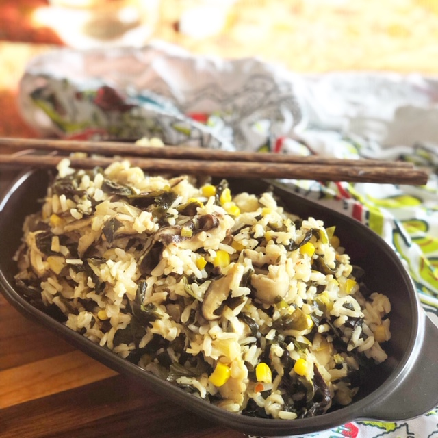 Basmati Rice with Leeks, Shiitakes, Wakame and Sweet Corn