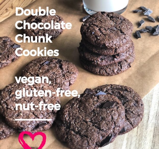 Double Chocolate Chunk Cookies. Gluten, Egg & Nut Free, Vegan.