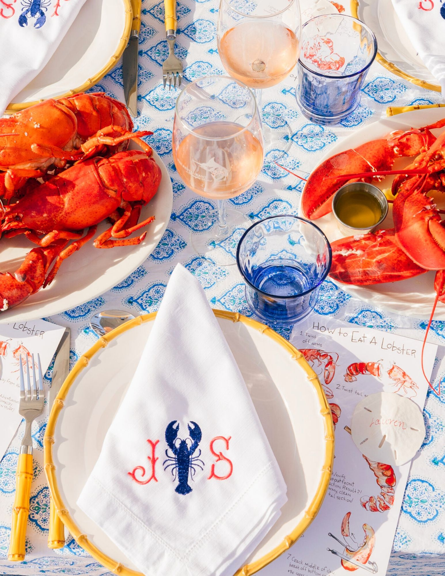 Be the Clambake Hostess with Mostess with Monogram Mary Embroidered Linens