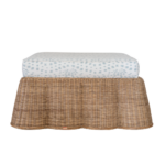 Bobbie Wicker Ottoman  w/ custom Les Touches Fabric in Sky Blue  $1665.00 | Society Social