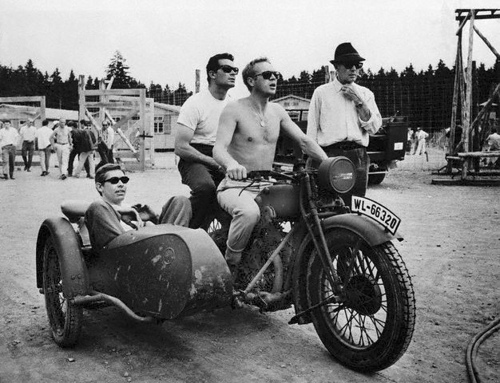 SURF COLLECTIVE NYC - Steve McQueen on a Motorcycle with James Garner and James Coburn