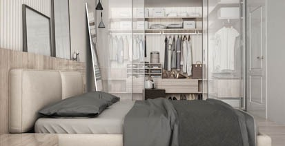bedroom with organized closet