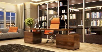 modern home office, desk with bookshelves