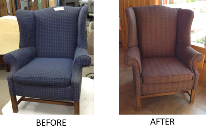 54545 lakeside living before after reupholstery cushioned armchair blue red