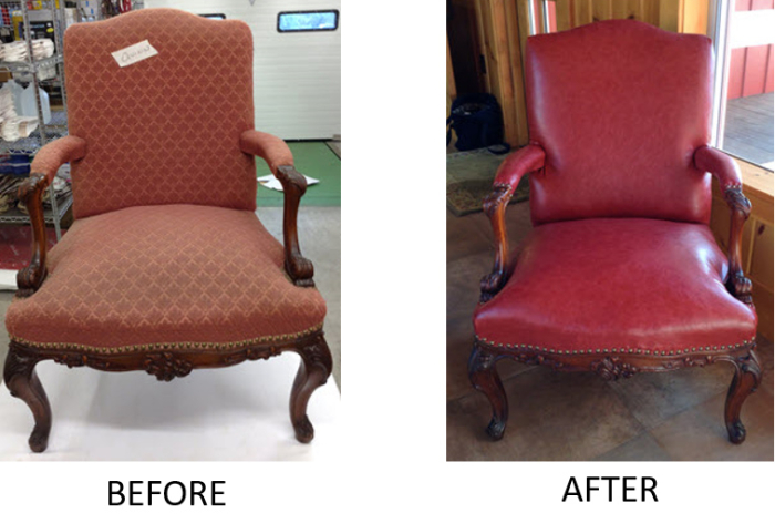 before and after reupholstered traditional armchairs wooden legs red