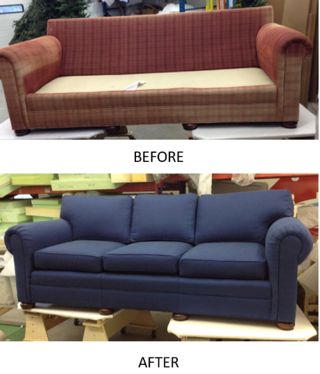 before after sofa reupholstered custom navy blue lake cabin 54545 lakeside living