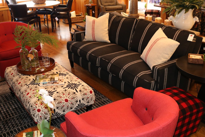 lakehouse decor color red chair black white striped sofa classic spring decorating
