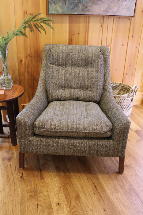 brown grey upholstered armchair wide deep seat cozy 54545 wi